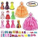 Rocita Barbie Decoration バービー人形 服 ドレス 靴 超豪華セット【ワンピース10枚+ウエディングドレス2枚+ハイヒール40点】Barbie Dress Wedding Dress Shoes 52pcs