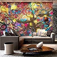 Hwhz 写真の壁紙抽象芸術3Dステレオのカラフルな木の蛍光灯壁紙現代のレストランクラブKtvバーの背景壁の壁画-400X280Cm