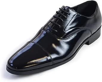 タキシードステーション 革靴 メンズ ブラック【販売】フォーマルシューズ・ビジネスシューズ・4cmヒール・合皮・アクションレザー・結婚式・お父様モーニング (25.0 cm)
