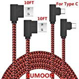 USBタイプCケーブル、sumoon 2パック10ft 90度ナイロン編みUSB A to USB C充電ケーブル高速充電コードfor note8/ s8/ s8Plus , Googleピクセル2XL /ピクセルXL、LG v30and Other - Cデバイス 10 feet