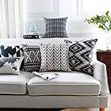 Modern Homes 100% Cotton Black and White Cushion Covers and Sham Set; Designer Black and White Throw Pillow Covers 18x18 inch