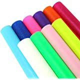 """David accessories Jelly Faux Leather Sheet Transparent Frosted Synthetic Leather Fabric Candy Color 10 Pcs 8"""" x 13"""" (20 cm x"""