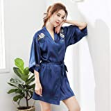 Womens Silk Pyjamas Set,Robe Female Sleepwear Silky Kimono Bathrobe Gown Satin Intimate Lingerie Bridal Wedding Gift Home Clo