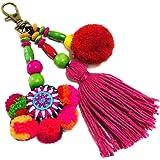 QTMY Dream Catcher Tassel Keychain for Women,Cute Boho Bag Charm Pendant Keyring Purse Handbag Decor