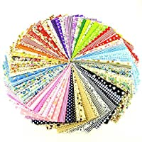 100 Pcs Fabric No Repeat Printed Boundle Squares Patchwork 4 x 4 inches (10cmx10cm) DIY Sewing Scrapbooking Quilting Dot Pattern [並行輸入品]