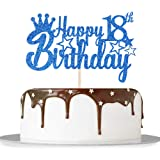 Blue Glitter Happy 18th Birthday Cake Topper for Cheers to 18 Years/Girl Boy's 18th Anniversary Birthday Party Decorations Su
