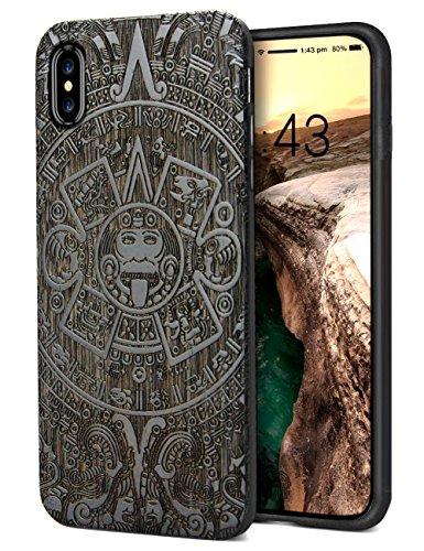 iPhone Xs Max 対応 ケース 2018 TPU+木 ワイヤレス充電対応 人気 和風 絵柄 レーザー彫刻 woodハードケース 人と被らない YFWOOD 高級 アイフォン Xs Max 対応 高級iPhone Xs Max カバー 手作り 6.5インチ 指紋防止 軽量(黒 ラッキー)