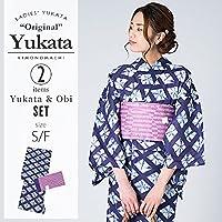 [KIMONOMACHI] 浴衣セット「紺色 絞り風菱模様」S,F(フリー) 女性浴衣セット
