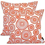 ARRIBA, Thin Circle Rings Pattern, (Pack of 2 Pcs_20x20 Inches or 50x50 Cms_Orange & White), Double Side Printed Decorative 100% Cotton Accent Canvas Throw Pillow Cases-Cushions Covers.