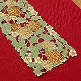 松かさ刺繍&カットワークテーブルランナー約20x80cm