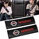 シートベルトカバー Nissan 日産の Qingtech カーボンファイバーカーシートベルトショルダーストラップパッド(2パック)