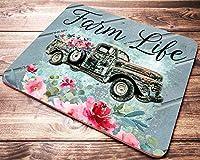 Farm Life 素朴なトラックマウスパッド ピンクの花 フェイク木製マウスパッド ファームハウス装飾 女性へのギフトに