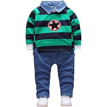 4c3eaf6b2ff8b 緑色 おしゃれ 星と縞 2点セット(上着+パンツ) かわいい ベビー服