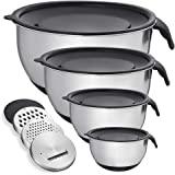 Mixing Bowl with Lid Set of 4, Stainless Steel Serving Bowl for Kitchen Cooking Baking Food Storage with 3 Graters, Size 1.5/
