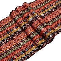 メイハウス テーブルランナー 棉麻 赤 モダン マルチカラーストライプ アジアン (32 * 180cm)