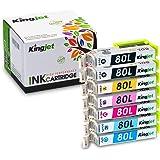 KingJet  EPSON  IC6CL80L  互換インクカートリッジ  6色BK/C/M/Y/LM/LC+ 黒1本