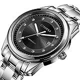 Comtex腕時計 メンズ ブラック ステンレス ベルト ウオッチ 男性用 ビジネス 時計