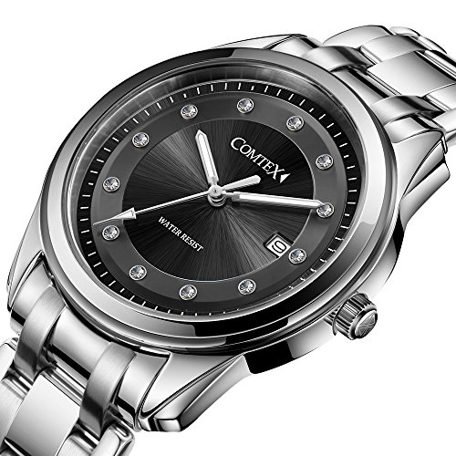 Comtex 腕時計 ビジネス ステンレス ウオッチ 日付 アナログ 男性 クォーツ 時計 メンズ