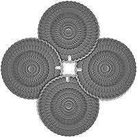 Zanmini 鍋敷き 食品用シリコン 耐熱 滑り止め おしゃれ 食洗器対応 花柄型押し 20cm 円形 4枚セット (グレー)