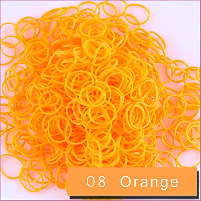 Kirinstores (キリンストア) ® 3600 本 クリップ 144 個 ゴムバンド リフィル Loom Rainbow Refill Bands Bracelets Dress Making (ルーム レインボー ブレスレット ドレス メーキング)  Orange オレンジ