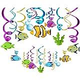 Kristin Paradise 30Ct Tropical Fish Hanging Swirl Decorations, Under The Sea Party Supplies, Ocean Birthday Theme, Fishing Ki