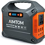 AIMTOM Portable Solar Generator, 42000mAh 155Wh Power Station, Emergency Backup Power Supply W/Flashlights, for Camping, Home