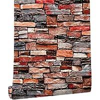 HAOKHOME 61030 レンガタイル れんが 煉瓦の壁紙シール はがせる のり付き 剥がせる 赤簡単キッチンのリビングルームの壁の装飾 45mx3m