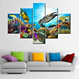 Undersea Canvas Art Wall Coral and Many Fishes Pictures Sealife Painting 5 Panel Colorful Wall Art House Decor Sea Turtle Art