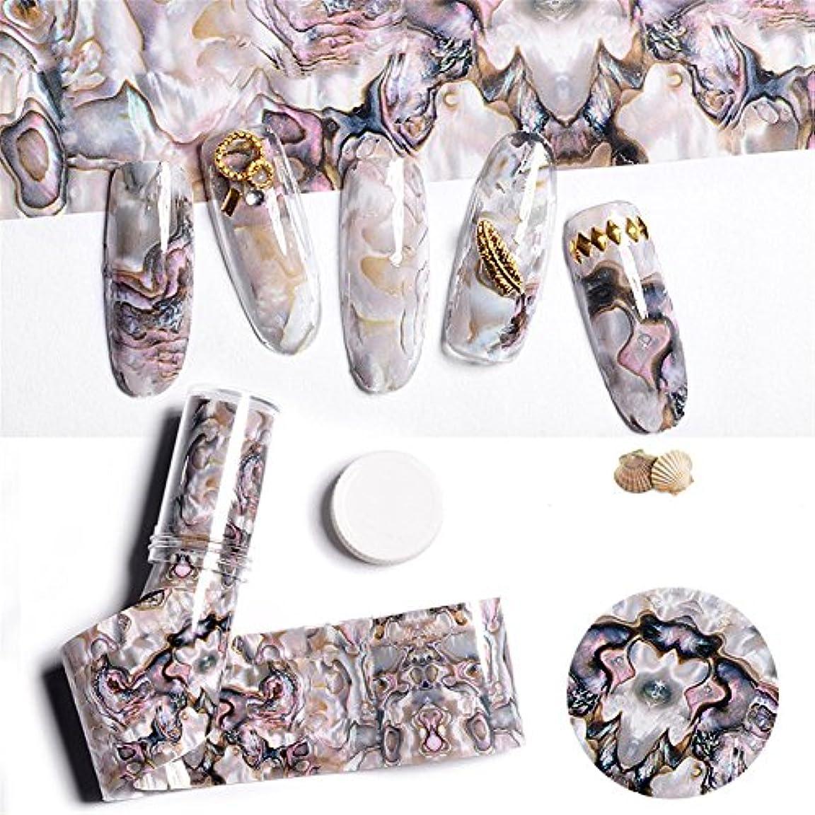 バーチャルチャンピオンシップ暖かさ1枚 4cm*100cm 貝殻柄ネイルホイル箔 フォイル ジェルネイルフォイル ホイル ネイル  ホログラム