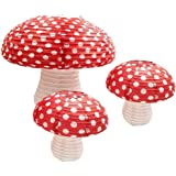 JVSISM 3Pcs Mushroom Shaped Paper Lanterns for Forest Jungle Wonderland Theme Birthday Party Decor Hanging 3D Mushroom Orname