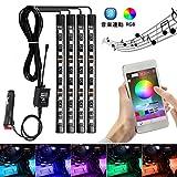 車用 ledテープ AMBOTHER led テープライトRGB 4x9 車内装飾用 音楽連動 フールカラー切替 多種フラッシュモード 足下照明 IOS&Android対応 保証一年