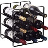 Buruis 9 Bottles Metal Wine Rack, Countertop Cabinet Wine Holder Storage Stand, Space Saver Protector for Red & White Wines -