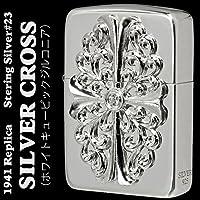 【ZIPPO】 ジッポーライター オイル ライター #23 1941レプリカ スターリングシルバー 純銀 クロスメタル 純銀メタル ホワイトキュービックジルコニア入り