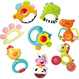 GILOBABY Baby Animal Rattle Teether, Shaker, Roll Rattle, Early Educational Toys for 3 6 9 12 18 Month Baby Infant Toddler, N