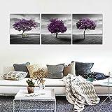 CrmaOArt - 3パネル抽象的なパッチワーク絵画壁アート - 草原紫色の木グリーンフィールドの芝生黒と白のスタイル - キャンバスアートホームインテリア - 40x40cm
