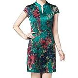 Howme-Women Floral Printed Short Party Fashion Silk Dress Cheongsam