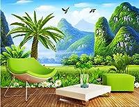 Weaeo 3D壁紙カスタム写真不織布壁山草原の風景3D壁の壁画の壁画の壁紙の装飾の絵画-280X200Cm
