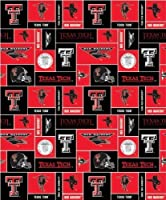 College Texas Tech University Red Raiders Print Fleece Fabric By the Yard by Sykel
