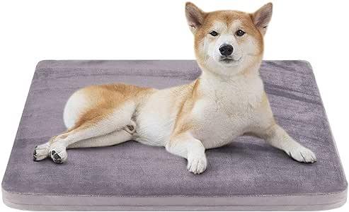 JoicyCo ペットベッド 犬ベッド クッション性抜群 足腰・関節にやさしい 老犬に 子犬 暖かい 冬 丁度いい厚さ カバーだけ洗う 清掃しやすい 多頭飼い 滑り止め 型崩れしない 通年使える 80*65*5cm(グレー M)
