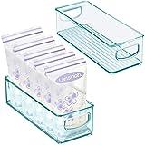 mDesign Baby Food Kitchen Refrigerator Cabinet or Pantry Storage Organizer Bin with Handles - for Breast Milk, Pouches, Jars,