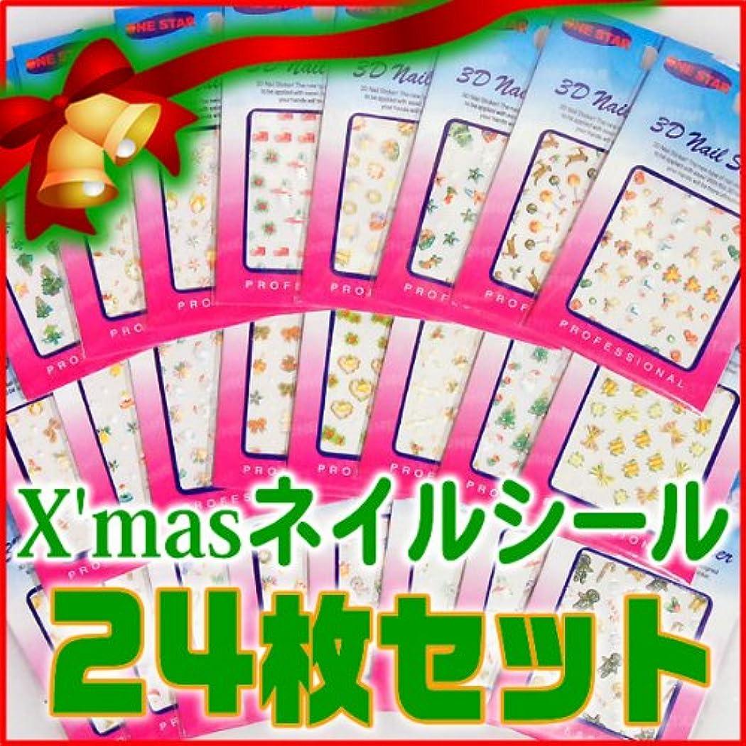 最悪郵便番号未満ネイルシール 福袋 クリスマスネイルシール24枚セット