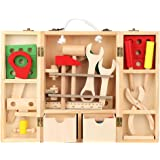 Yinuoday Kids Tool Set, Wooden Real Tool Set for Kids Educational Pretend Role Play Set Construction Toys with a Handy Storag