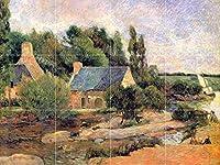 "Washerwomen at pont-aven by Gauguinタイル壁画キッチンバスルーム壁後ろの油ストーブ範囲シンク止め板4x 34.25インチセラミック、光沢 4.25"" Ceramic, Matte IG122__4x3_4.25iCerMat_Tile_Mural"