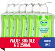 Dettol Liquid Hand Wash Refreshing Lemon Lime Anti-Bacterial Pump, 1.5L (6 x 250ml pack)