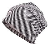 [TARO WORKS] ボーダー ロールアップワッチ ニット帽 ビーニー オールシーズン Unisex (カフェ&ホワイト)