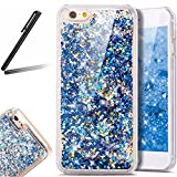iPhone 6 ケース,iPhone 6S 流れる 液体 ケース,iPhone 6 カバー,SKYMARS 流れる フローティング ラグジュアリー グリッター ス バンパー ケース iPhone 6 / 6S カバー (Blue)