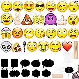 絵文字写真ブース小道具27pcs +ブラック用紙メッセージ黒板10個すべての種類のパーティーフェイスマスクとして、ビッグサイズ、アソートカラーパターンの