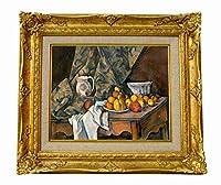 世界の名画 セザンヌ リンゴと桃のある静物 ジクレーキャンバス複製画F3号豪華額装品