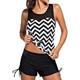Hot Sale! Hansair Women Tankini Sets Boyshorts Ladies Swimwear Two Piece Tankini Swimsuits