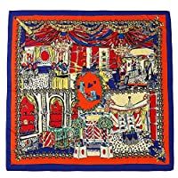 BAGEHUAN シルクフィーリングスカーフ女性プリントショールラップ大きな正方形のスカーフエレガントな冬のスカーフ